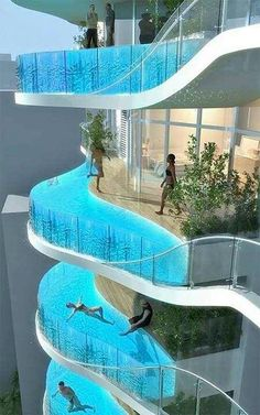 one of our Top 5 Unusual Pools in the world. #5 Aquaria Grande Residential Tower, Mumbai, India Aquaria Grande Tower is currently under construction. But when the project will be finished, it will be one of the most amazing places to live. That is because the balconies will be converted into pools.