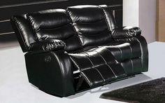 Gramercy Black Leather Reclining Loveseat