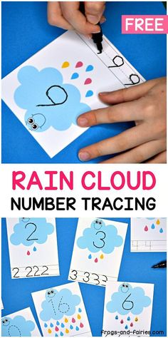 Grab these adorable Rain Cloud Number Tracing Cards for fun writing and counting practice! These smiley clouds are going to help your little learners practice counting and writing numbers from This set features 21 number tracing cards! Weather Activities Preschool, Counting Activities, Spring Activities, Preschool Math, Toddler Activities, Preschool Number Crafts, Writing Activities For Preschoolers, Kindergarten Counting, Counting To 20