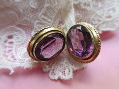Vintage Rolled Gold Amethyst Colored Crystal Pierced Earrings, Older Vintage