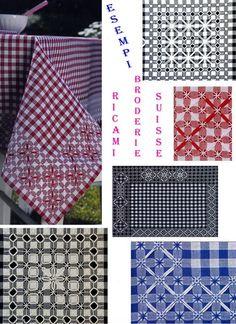Broderie Suisse, Chicken scratch, Swiss embroidery, Bordado espanol, Stof veranderen