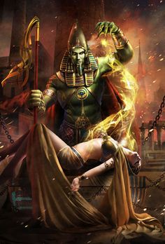 Osiris - murdered by his brother Seth, brought back to life by his wife Isis, and went on to become the ruler of the underworld and judge of the dead