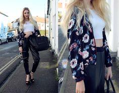 Sheinside Jacket, Missguided Crop Tee, Missguided Pants, Celine Bag, Heelberry Heels, Wildfox Couture Sunnies