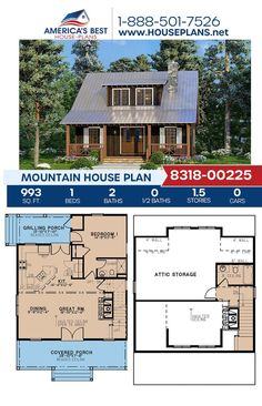 The Mountains are calling and you must go! Plan 8318-00225 is a mountain design featured by 993 sq. ft., 1 bedroom, 2 bathrooms, a covered porch and an open floor plan. To learn more about our Mountain designs, go to our website! Open Ceiling, Mountain House Plans, Mountain Designs, Contemporary House Plans, Best House Plans, Flat Roof, Build Your Dream Home, Innovation Design, Square Feet