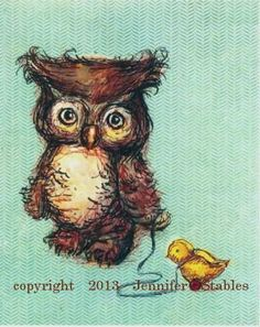Owl+and+Ducky+5x7+print+matted+to+fit+8x10+by+JennyDaleDesigns,+$23.00