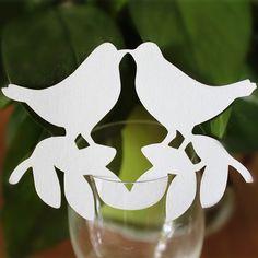 50 unids/lote parejas aves Lovers copa de vino tarjeta copa tabla marcos tarjetas para la boda bola del partido de cumpleaños decoraciones de eventos