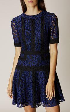 Karen Millen, LACE PANEL DRESS Blue/Multi