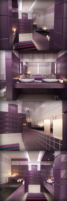 A bath needs to freshen you, not just in the flesh but also in the soul. Here is a #bathroom concept that will enthrall you with its royal shades of purple and lead you into an unfathomable sense of mystique and serenity. #BathroomConceot #Purple #InteriorDesign #HomeDecor #TheFirstFerry #BeautifulHome #Architecture #Luxury #GauriKhan #Celebrity #Furnishing #Interiors