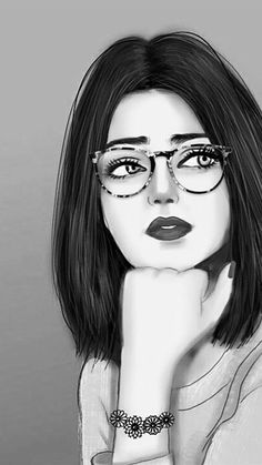 Tumblr Girl Drawing, Girl Drawing Sketches, Girly Drawings, Cool Art Drawings, Girl Sketch, Beautiful Girl Drawing, Cute Girl Drawing, Cartoon Girl Drawing, Cute Emoji Wallpaper