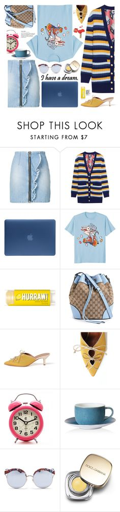 """""""Denim Skirts"""" by imurzilkina ❤ liked on Polyvore featuring MSGM, Gucci, Incase, Malone Souliers, Royal Crown Derby, Stephane + Christian, Dolce&Gabbana and denimskirts"""