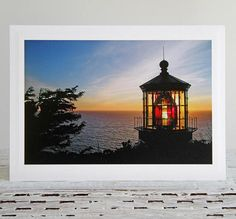 Lighthouse Sunset Photo Greeting Card Setting Sun Over Ocean