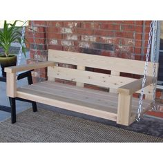 Millwood Pines Frankfort Ranch Style Porch Swing Finish: Natural Cedar, Size: W Porch Swing With Stand, Bench Swing, Wood Swing, Patio Swing, Porch Swing Pallet, Diy Swing, Porch Swings, Swing Top, Pergola