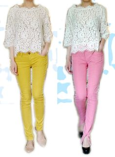 Joie lace top with C/E yellow or 3.1 phillip lim pink vertical vent