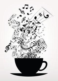 Cup of Music Music Poster Print Music Painting, Music Artwork, Cool Artwork, Music Drawings, Art Drawings, Music Notes Art, Music Music, Musik Wallpaper, Music Poster