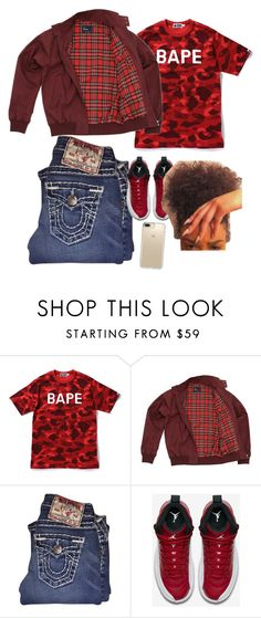"""Hol Up Lil Baby, You Goin too Slow"" by yungjazzyhoe ❤ liked on Polyvore featuring A BATHING APE, Fred Perry, True Religion, NIKE and Speck"