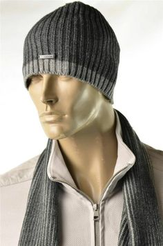 2a8b9a22ef2 Calvin Klein Hat Mens Signature Gray Logo Ribbed Knit Cap Skully Beanie OS   CalvinKlein