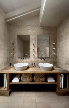Great Photos Rustic Bathroom cabinets Ideas Some sort of rustic bathroom is often characterised through exciting quirks plus the application of Rustic Bathroom Designs, Rustic Bathroom Vanities, Beige Bathroom, Rustic Bathrooms, Master Bathroom, Bathroom Ideas, Bathroom Renovations, Bathroom Wall, Half Bathrooms