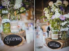 Wildflower table centre pieces named after trees. From 'A Wildflower and Woodland Inspired Rustic, Rural Barn Wedding' on www.lovemydress.net, photography by http://www.claudiarosecarter.co.uk/