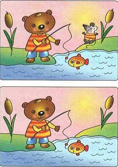 (2016-07) Find 1 forskel Find The Difference Pictures, Spot The Difference Kids, Montessori Activities, Infant Activities, Activities For Kids, Hidden Words In Pictures, Kids Printable Coloring Pages, Brain Teasers Riddles, Teddy Bear Cartoon