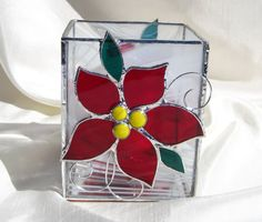 Christmas Poinsettia Stained Glass Candle Holder by hobbymakers