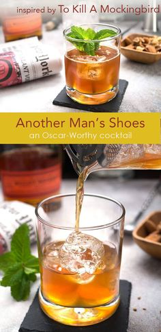 Another Man's Shoes stars bourbon, black tea and a crack of coriander seeds on top. Inpired by the classic film, To Kill A Mockingbird, and part of the Oscar-Worthy Cocktails series. Sponsored by Drizly.