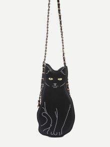 Black Cat Design PU Crossbody Chain Bag