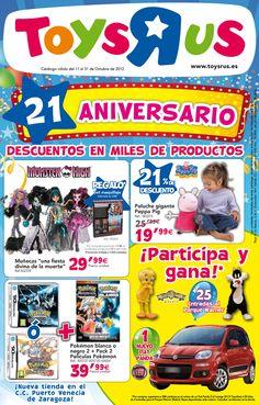 """El 21 Aniversario de Toys""""R""""us, aquí el catálogo con sus mejores descuentos para celebrarlo http://www.ofertia.com/tiendas/toys-r-us"""