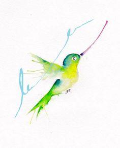 Hummingbird 8x10 inch original watercolor illustration $15