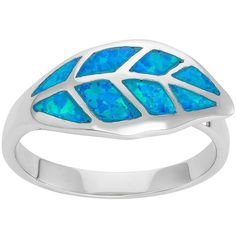 Lab-Created Blue Opal Sterling Silver Leaf Ring ($100) ❤ liked on Polyvore featuring jewelry, rings, blue, sterling silver jewelry, womens jewellery, sterling silver leaf ring, sterling silver rings and sterling silver opal ring
