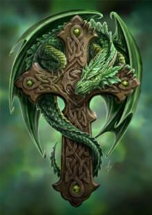 Woodland Guardian - Greeting Card by Anne Stokes - Dragon Cards - Fantasy, My. Dragon Medieval, Celtic Dragon, Celtic Art, Celtic Crosses, Gothic Crosses, Irish Celtic, Celtic Symbols, Gothic Art, Dragon Vert