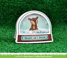 Lawn Fawn Intro: Ready, Set, Snow + Shaker Add-on - Lawn Fawn Stamped Christmas Cards, Christmas Tag, Holiday Cards, Lawn Fawn Blog, Paper Craft Making, Lawn Fawn Stamps, Santa Sleigh, Snow Scenes, Shaker Cards