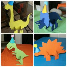 Dino party centerpieces, dinosaur centerpieces, cardboard dinos Dinosaur Birthday Party, 4th Birthday Parties, Birthday Party Decorations, Party Centerpieces, Dinosaur Projects, Dinosaur Crafts, Party Fiesta, Crafts For Kids, Art For Kids