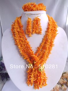 Amazing Design! African Wedding orange Coral Beads Necklace Set  $66.57