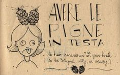 Learning Italian Language ~ Pinecones in your head - you are stupid, or crazy