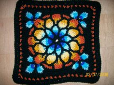 all free crochet afghan flower blocks | Stained Glass Window Afghan