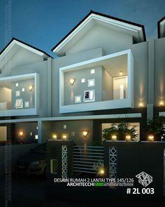 Desain rumah dengan konsep minimalis ini terdiri 2 lantai dengan space antara lain : teras depan+ruang tamu, ruang makan, ruang keluarga, ruang santai, kitchen set pantry, 4 kamar tidur, 3 kamar mandi, Gudang, balkon, tempat cuci & jemuran, taman depan+belakang. Dengan Luas Tanah = 126 m², Luas Bangunan = 145 m². Desain Rumah Siap Bangun Kode Desain = 2L003 #Arsitek #DesainRumah #Architecchi