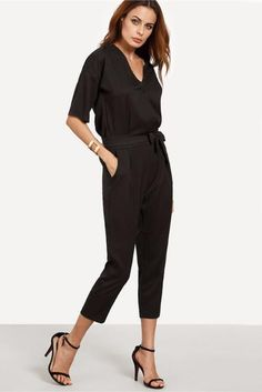 Solid Surplice Front Self TieTwin Pockets V Neck Jumpsuit
