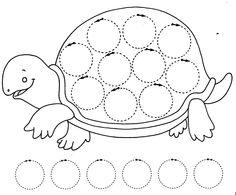 schildpad, schrijfpatroon voor kleuters. free printable