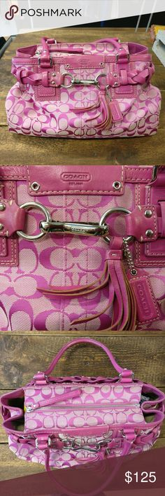 """COACH Hamilton Signature Carryall Tote Pink COACH Hamilton Signature Carryall Tote in Hibiscus pink jacquard fabric with camel interior 8.5"""" strap drop. Coach logo embossed on leather at bag front. Decorative braided belt accent. Zip top closure with looped leather pull, Coach embossed leather hang tag with tassel. Four grommet feet on bottom. Silver tone hardware. Used condition. See last photo collage in listing for a couple spots and dirt on handles. The inside is CLEAN. So much life left…"""