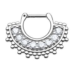 Spikes Large, paved septum clicker piercing in a jewel fan style - gold . Spiderbite Piercings, Septum Piercing Jewelry, Septum Clicker, Septum Ring, Body Jewelry Shop, Labret Studs, Silver Nose Ring, Diamond Shapes, Jewelry Collection