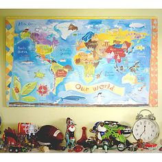 Our World Canvas Reproduction from PoshTots #map #wall #art #canvas #world