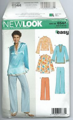new complete, 2005 easy pants long sleeve top pattern New Look Simplicity # 6544 New Look Patterns, Simplicity Patterns, Long Sleeve Tops, Bell Sleeve Top, Top Pattern, Fabric Patterns, My Wardrobe, Easy, Underwear