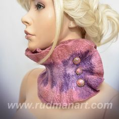 Felted scarfcollar scarflette Dusty Pink Lilac with 3 by RudmanArt, $49.00