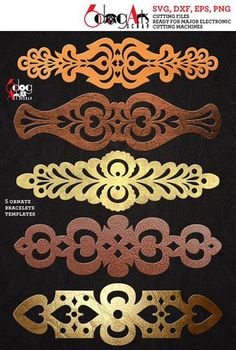 Cuff Bracelet Leather Jewelry Templates - vector digital files to use for your crafting projects, etc. You will receive these designs in 5 file formats: SVG Leather Jewelry Making, Diy Leather Bracelet, Leather Cuffs, Leather Earrings, Jewelry Crafts, Handmade Jewelry, Leather Projects, Bracelet Making, Craft Projects