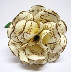 Rustic Wedding Pen Personalized Paper Rose Twine Wrapped Pen Cream and Brown Wedding Locations, Wedding Themes, Flower Pens, One Rose, Paper Roses, Colored Paper, Wedding Paper, Twine, Fairytale