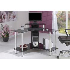 jual small corner computer desk with black glass wayfair uk