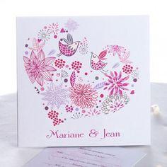 Faire Part Mariage Cœur Avec Motifs Naturels De Couleur Vive
