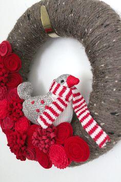 Red Bird Wreath Winter Wreath Cardinal Wreath by TheBakersDaughter
