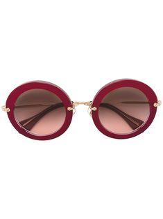 MIU MIU EYEWEAR . #miumiueyewear # Round Frame Sunglasses, Miu Miu, Protective Cases, Pink Purple, Eyewear, Metal, Shopping, Eye Glasses, Glasses
