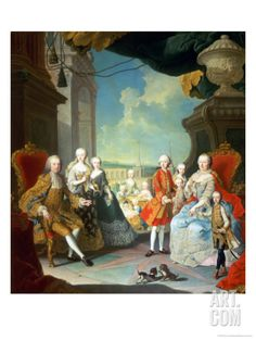 Maria Theresa and Her Husband at the Staircase Leading from the Great Hall of Schloss Schonbrunn Giclee Print by Martin van Meytens at Art.com